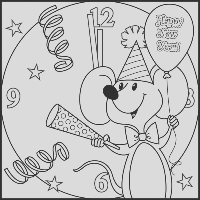 happy new years coloring pages