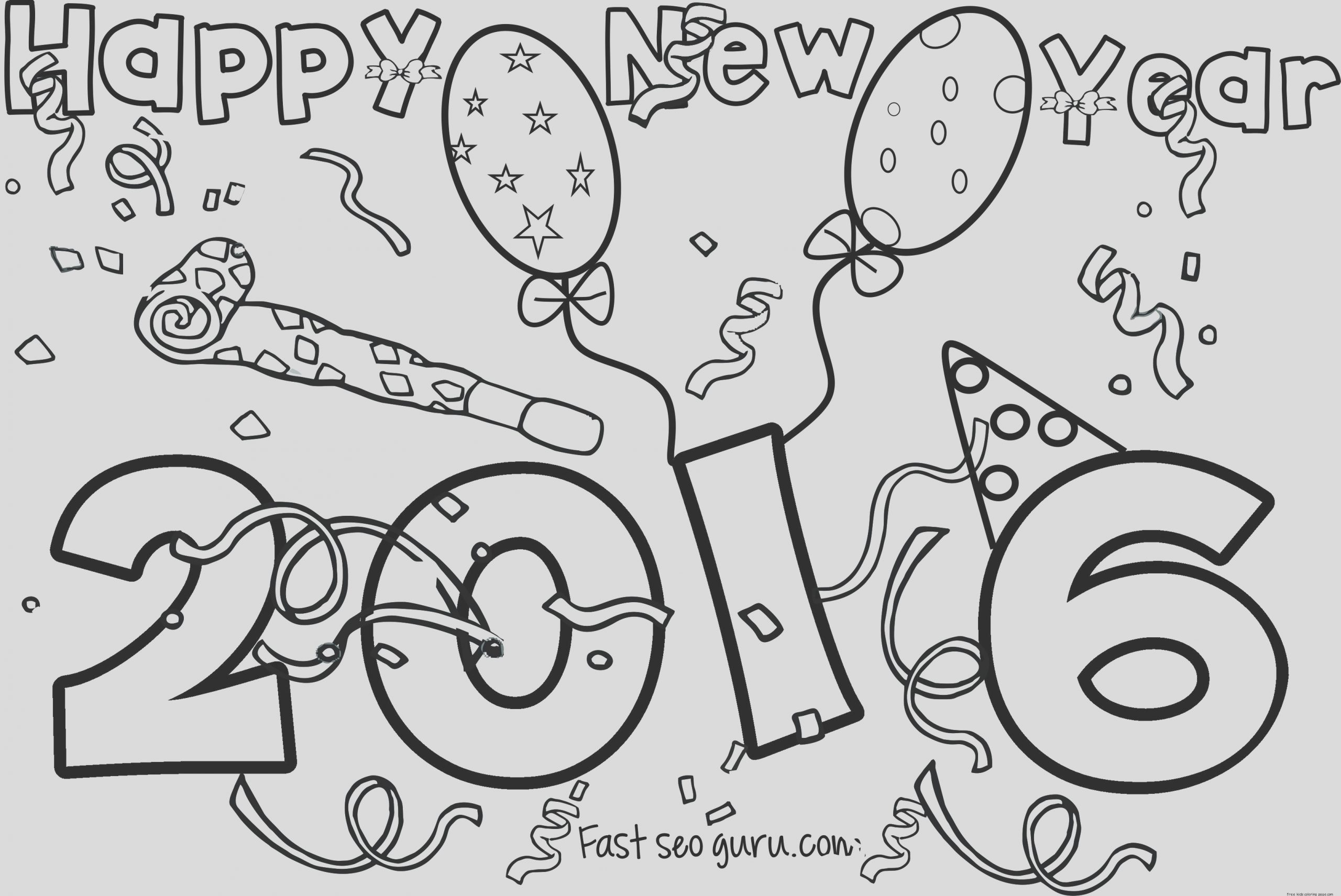 happy new year 2016 printable coloring pages