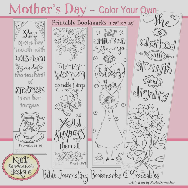 proverbs 31 godly woman mothers day color your own bible bookmarks