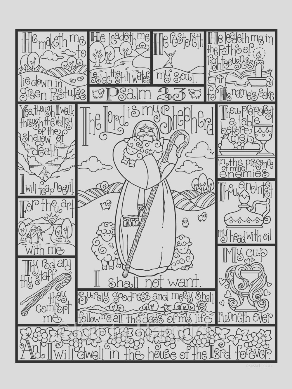 psalm 23 coloring page in three sizes