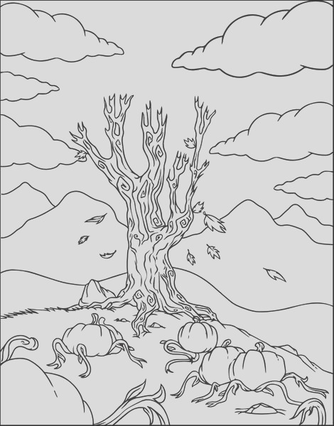 pumpkin patch fall coloring page a4299