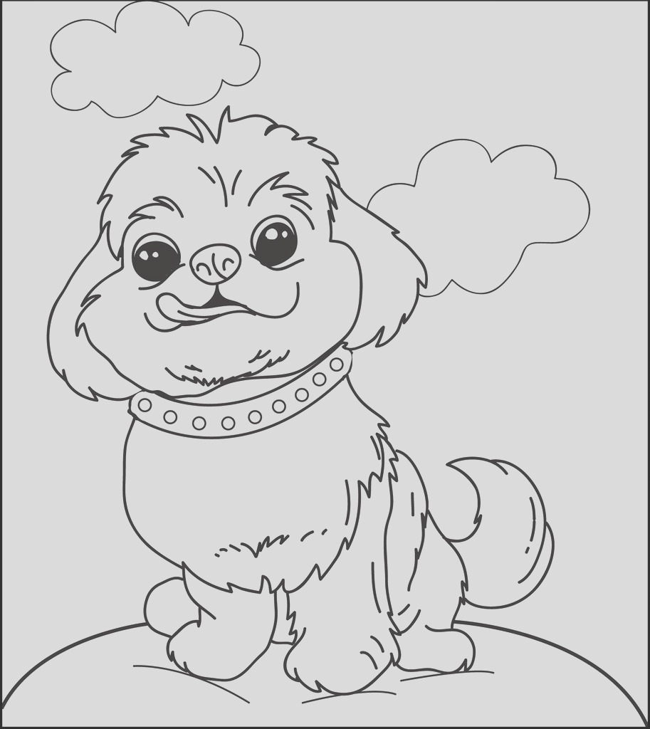 cute little puppy dog licking its lips coloring page a4269