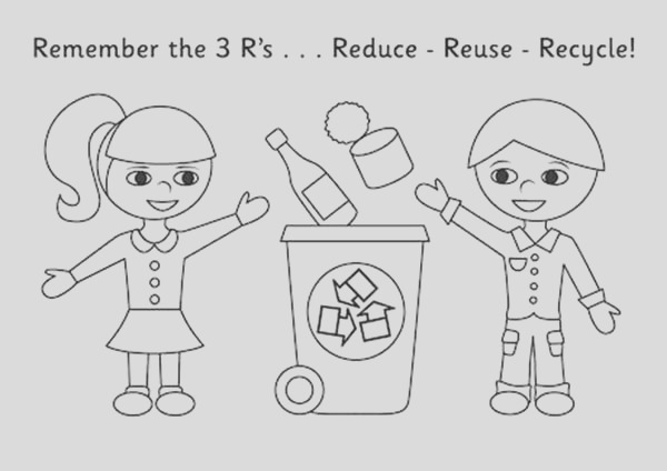kids collecting recycling waste coloring page