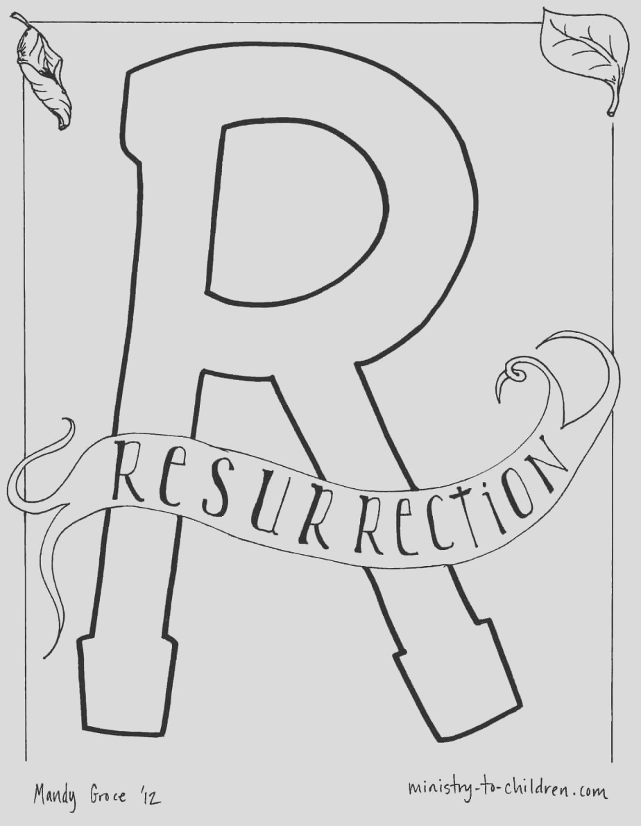 r is for resurrection coloring page