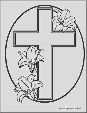 easter religious coloring page cross with lilies printable 5708