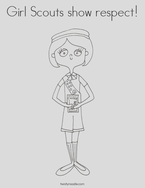 girl scouts show respect coloring page