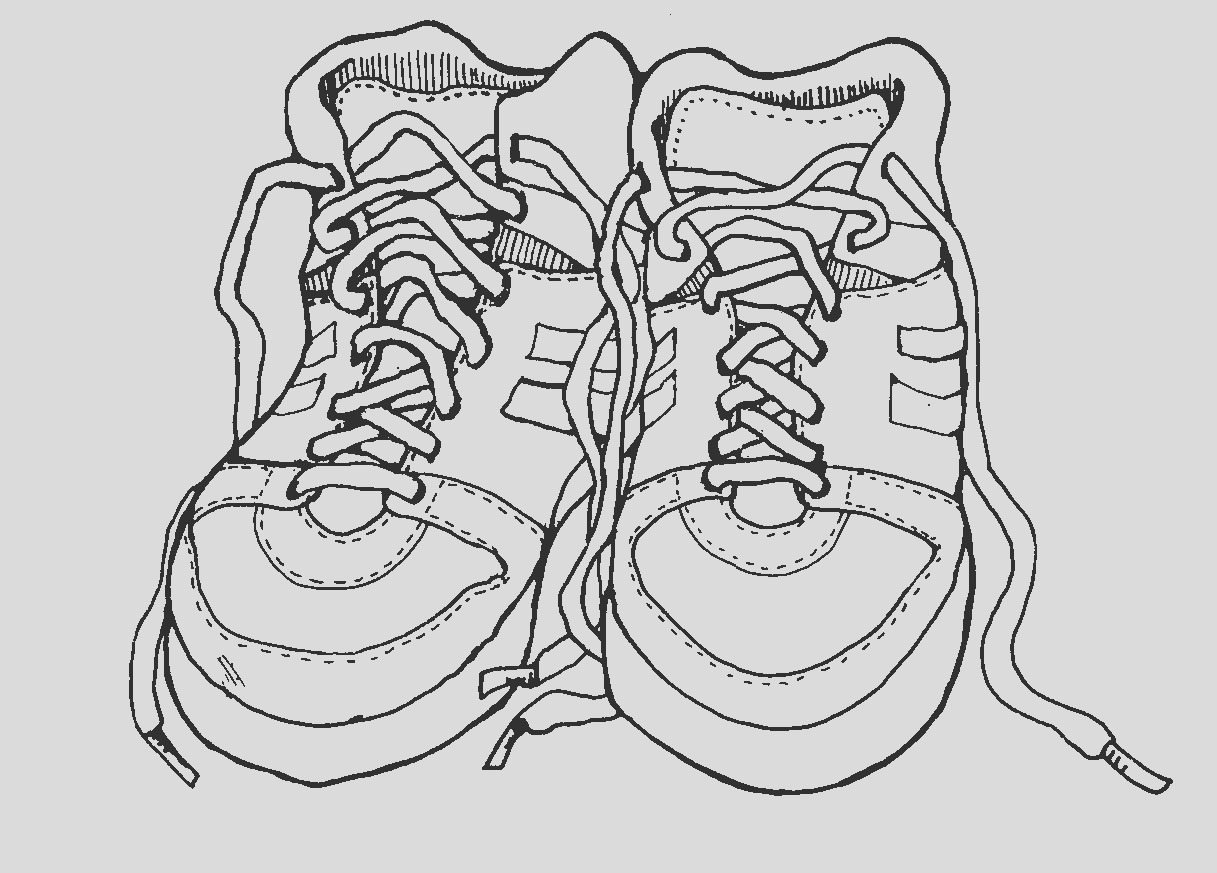 outline of a running shoe