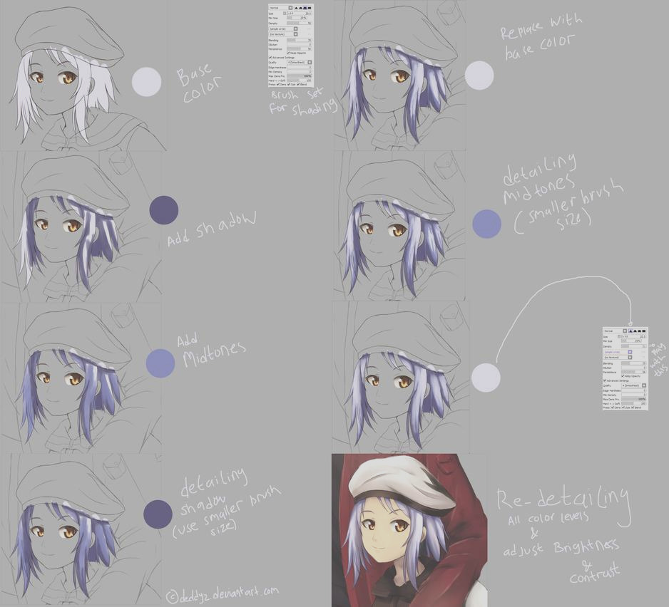 Hair Coloring Tutorial Paint Tool SAI By Mouse