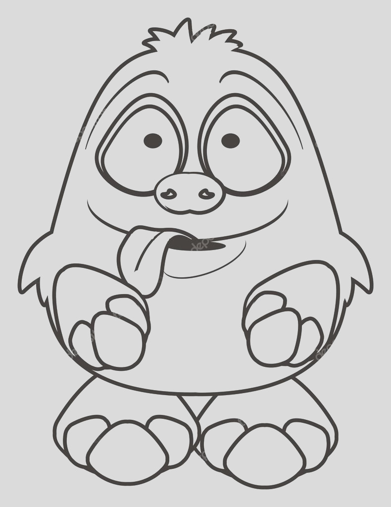 silly monster coloring sketch templates
