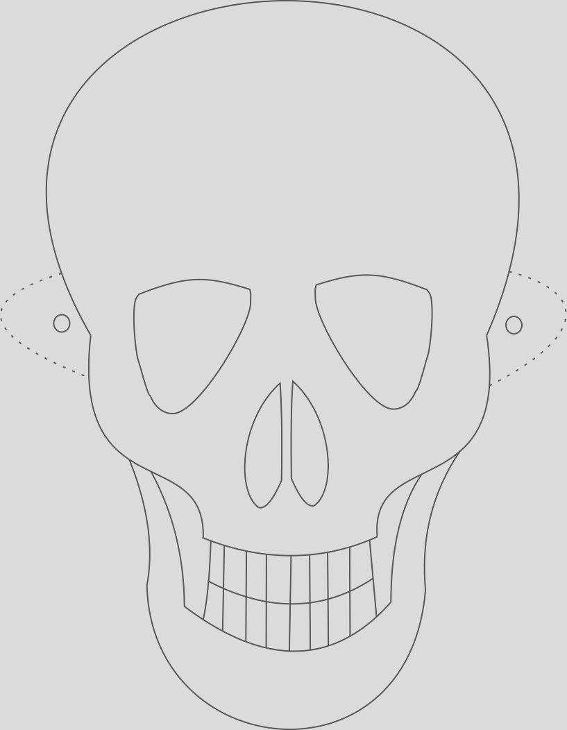9202 Skeleton mask printable coloring page for kids