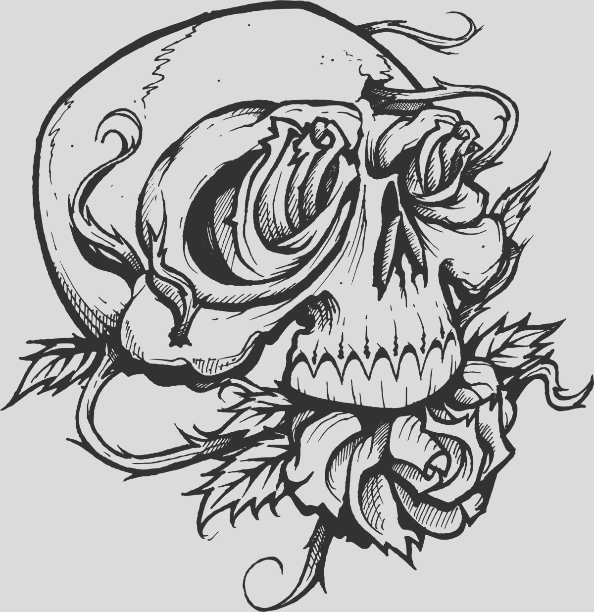 skull with roses coloring page
