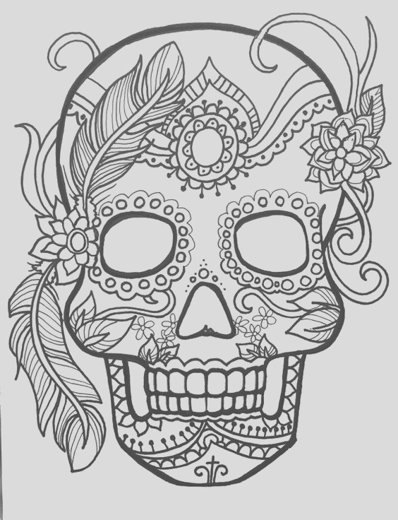 skull day of the dead coloring