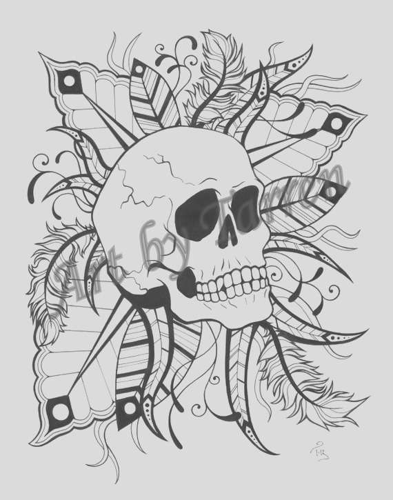 skull feathers printable coloring page