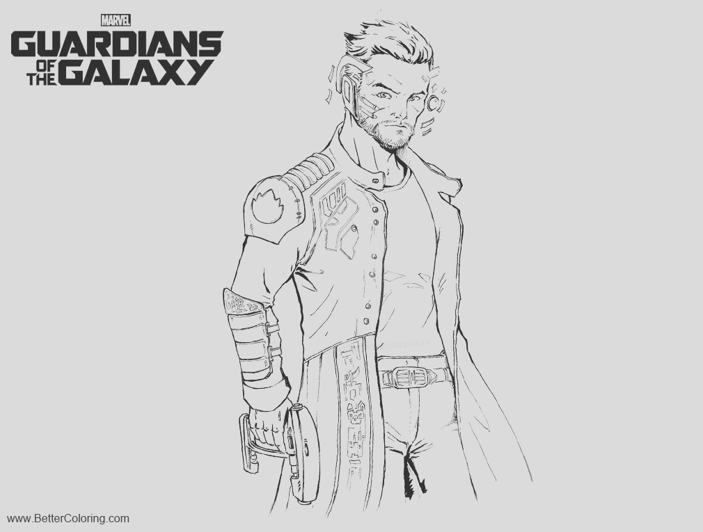 guardians of the galaxy coloring pages star lord wip by guanlinchen