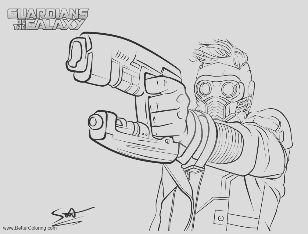 guardians of the galaxy coloring pages star lord lineart by angelz11