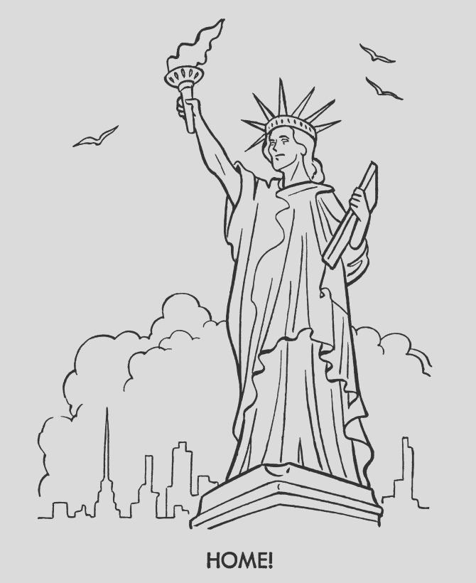 Statue Liberty Black And White Coloring Page part 2