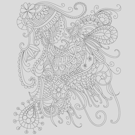 adult coloring page of abstract doodle