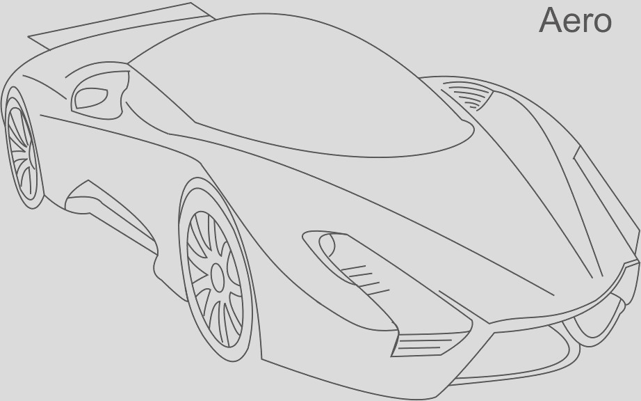 7301 Super cars Aero coloring page for kids