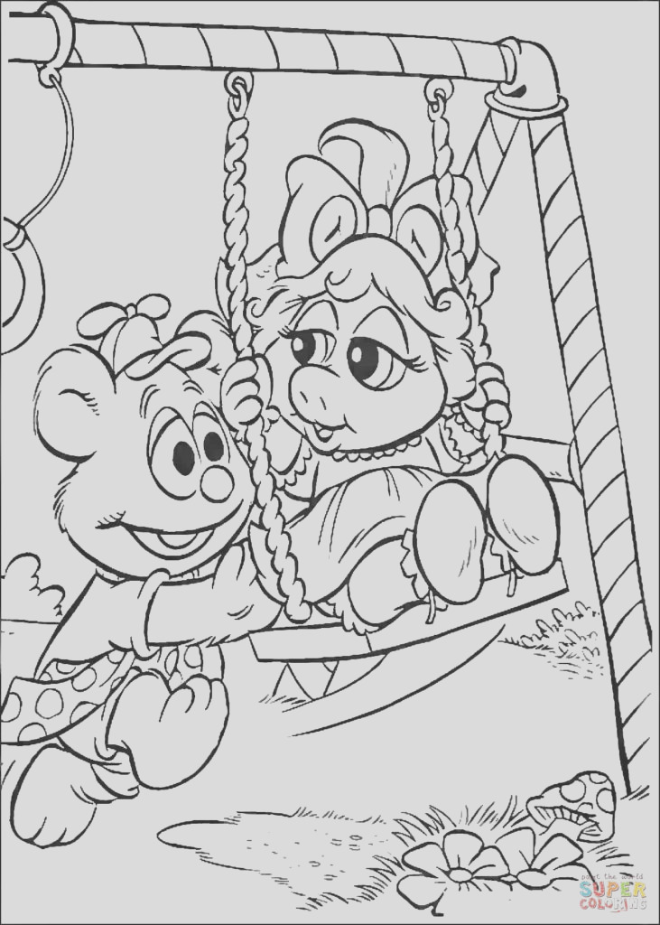 baby fozzie and baby miss piggy on a swings coloring page free