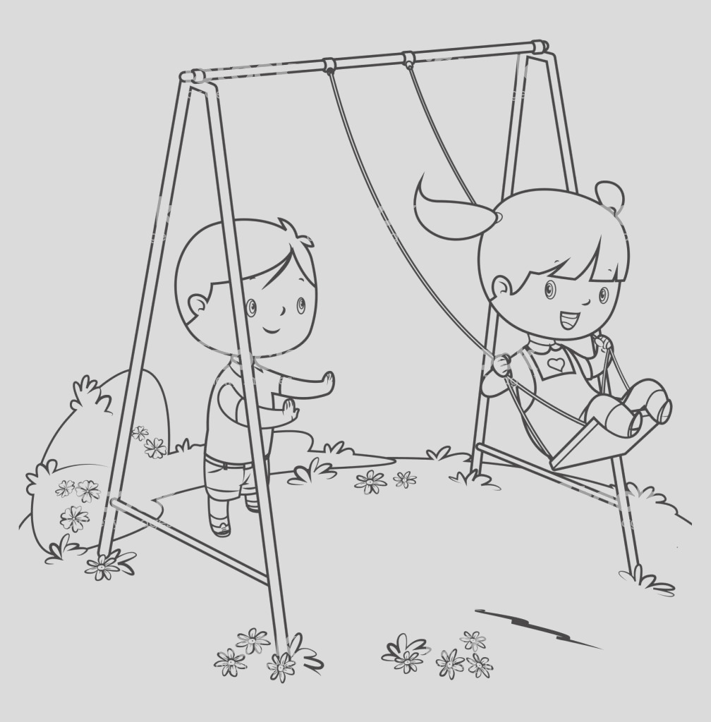 coloring book children playing on swing gm