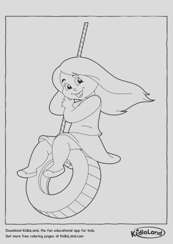 girl in a swing coloring page