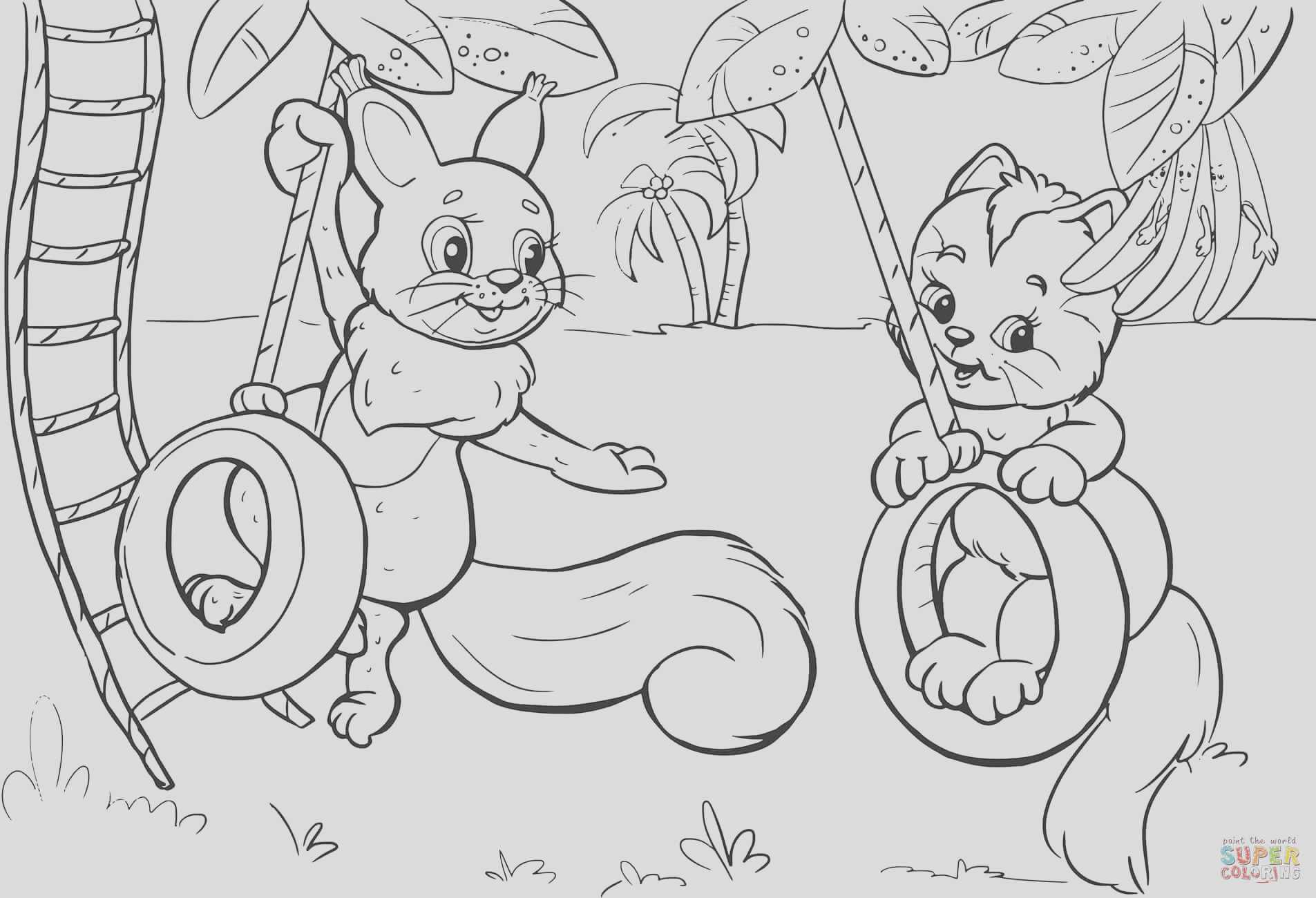 squirrel and cat swinging on tire swing