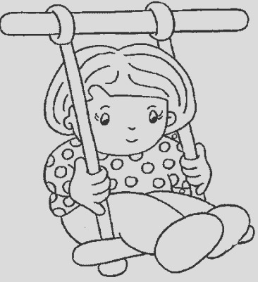 child on swing kids coloring pages