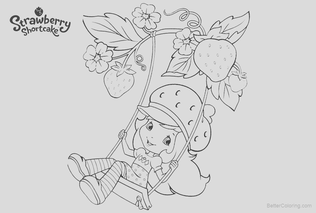strawberry shortcake coloring pages play swing