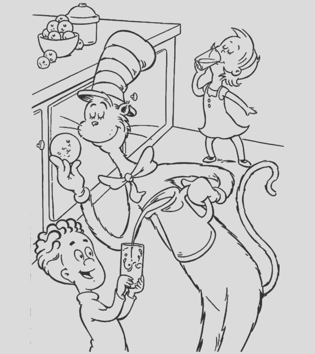 cat in the hat coloring sheets