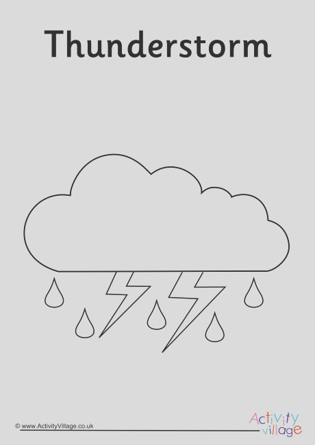 thunderstorm weather symbol colouring page