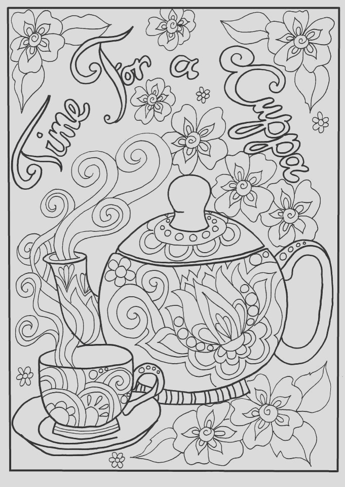 coffee tea coloring pages for adults