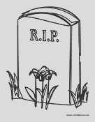 coloring halloween headstone page