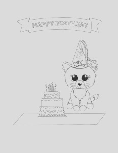 beanie boo birthday coloring page 2