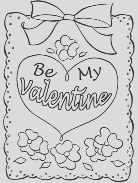 be my valentine heart coloring page