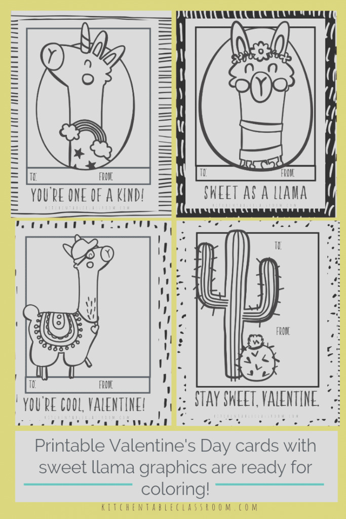 free printable llama valentines cards to color