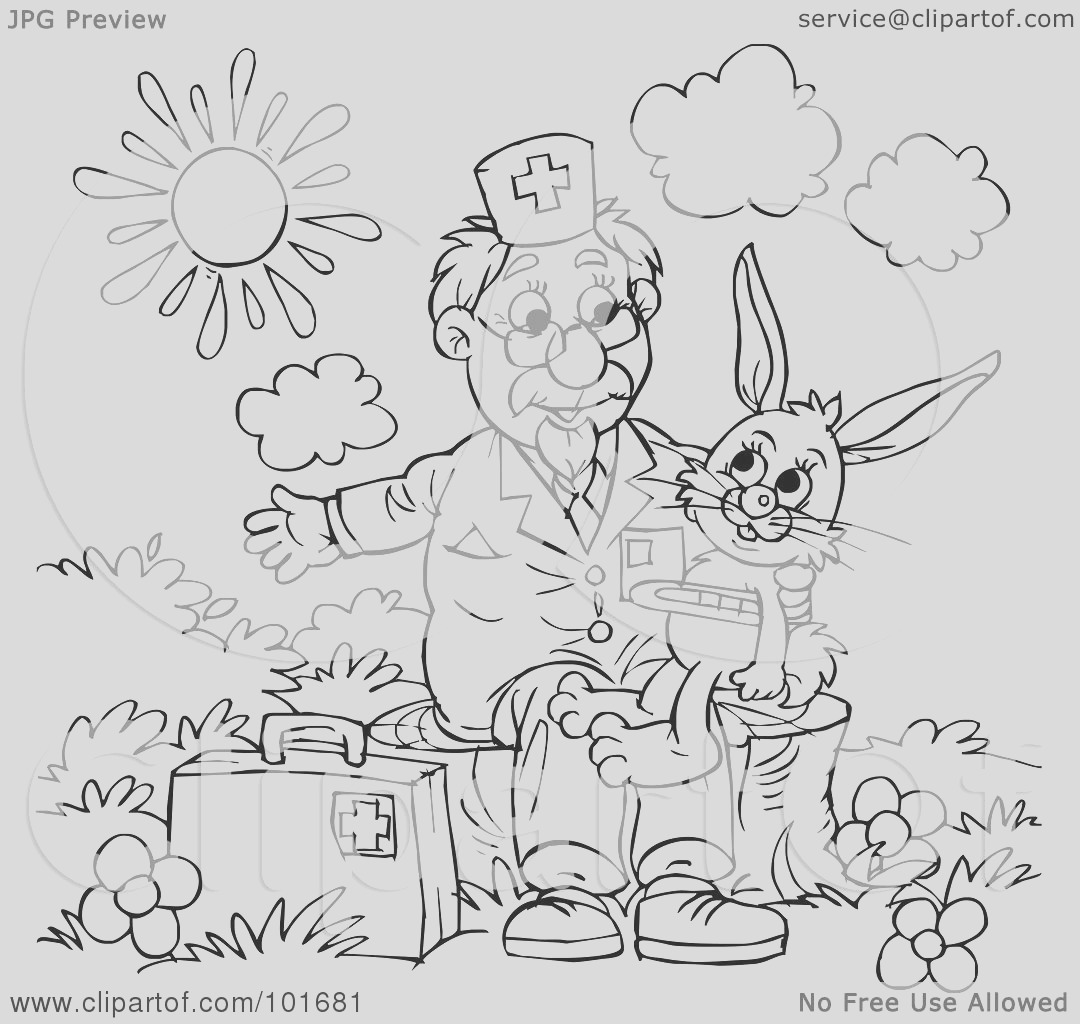 coloring page outline of a veterinarian helping a sick rabbit