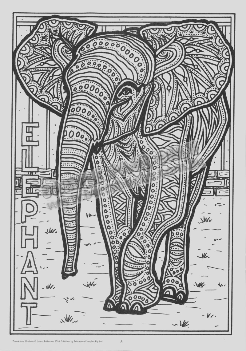 zoo animal outlines hard copy