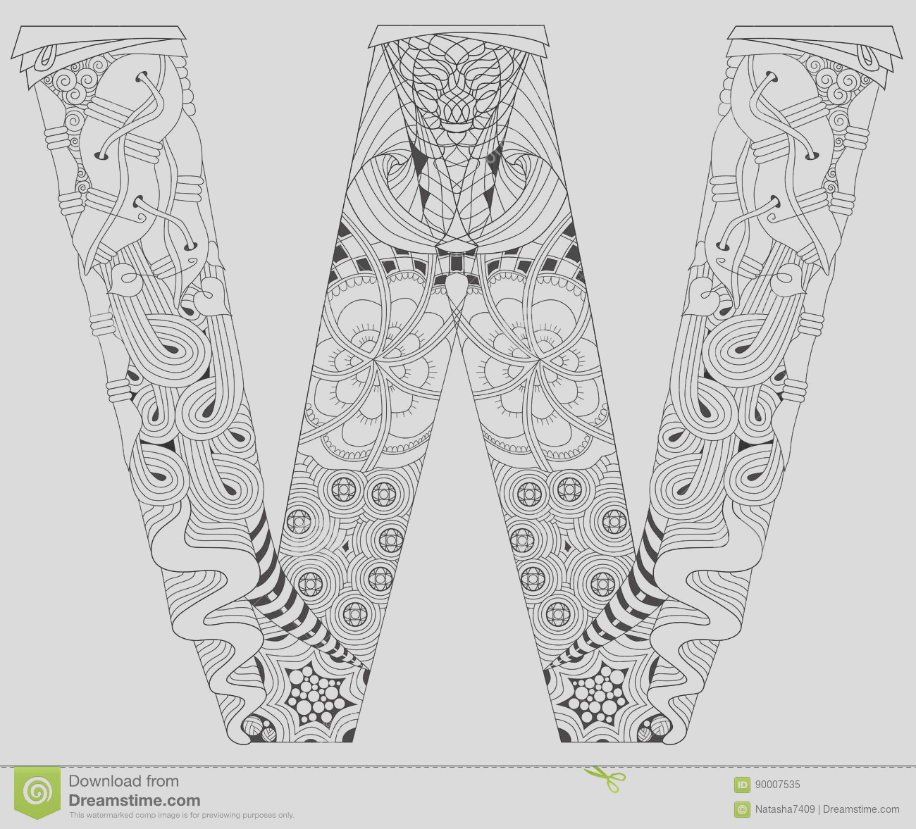 stock illustration letter w coloring vector decorative zentangle object hand painted art design adult anti stress page black white hand drawn image