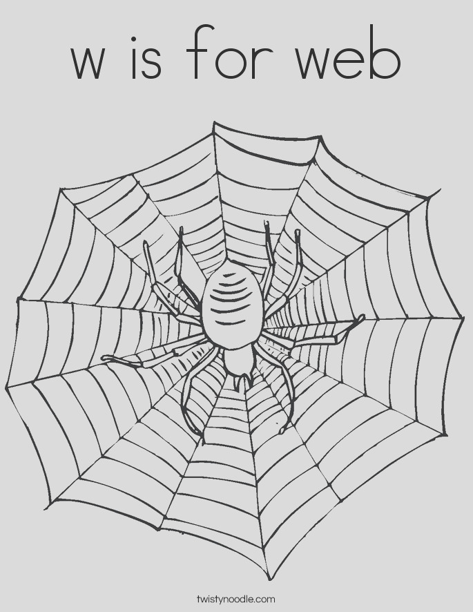 w is for web 3 coloring page