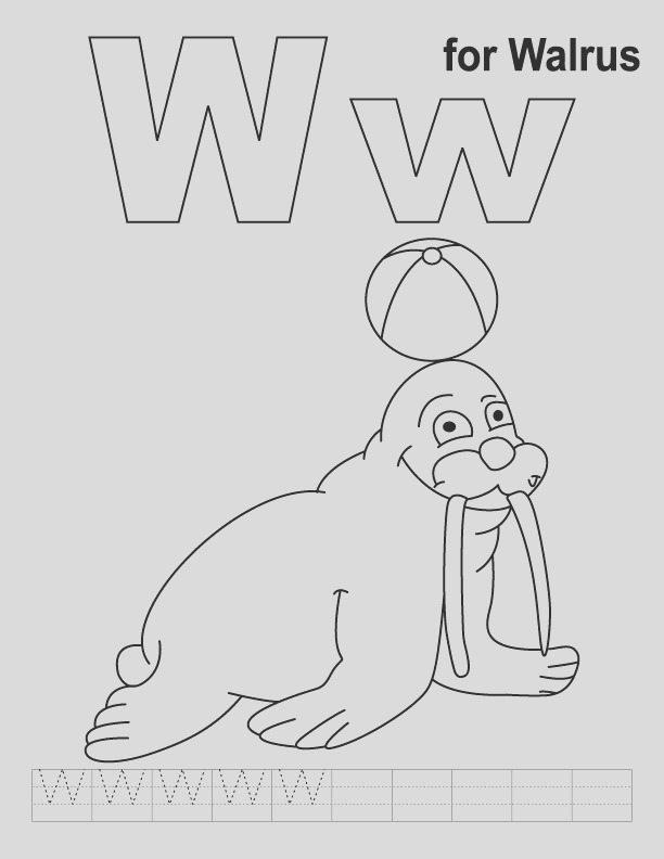 w for walrus coloring page with handwriting practice 1d2483