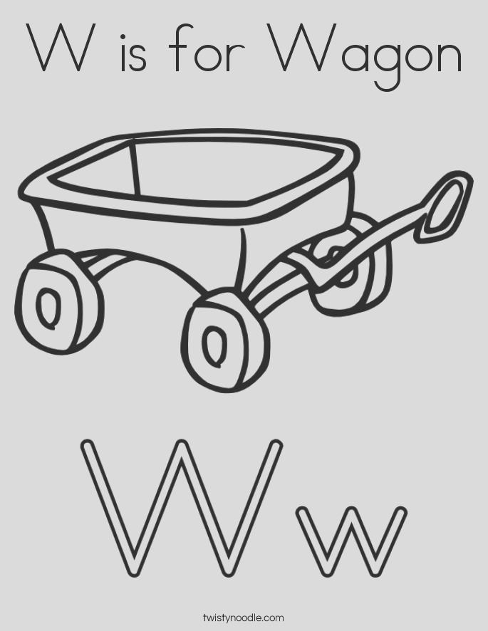 w is for wagon 4 coloring page