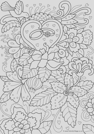bride and groom colouring page 2