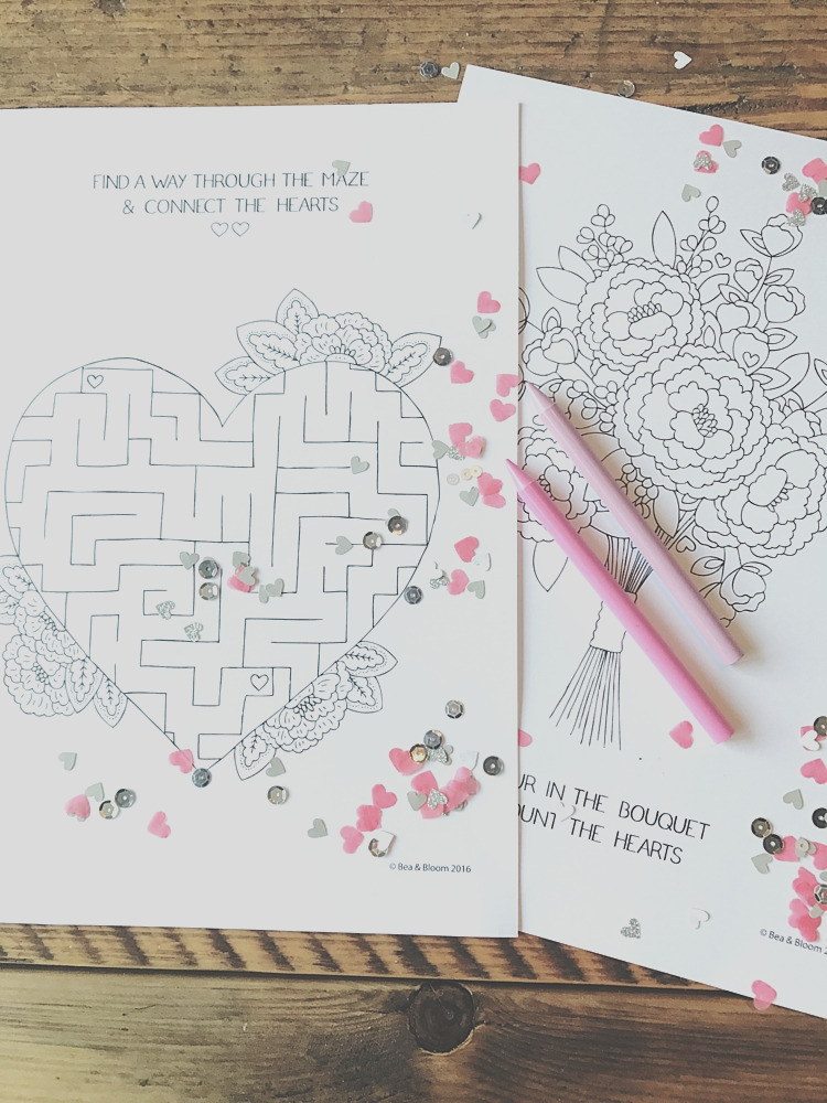 free printable wedding kids colouring