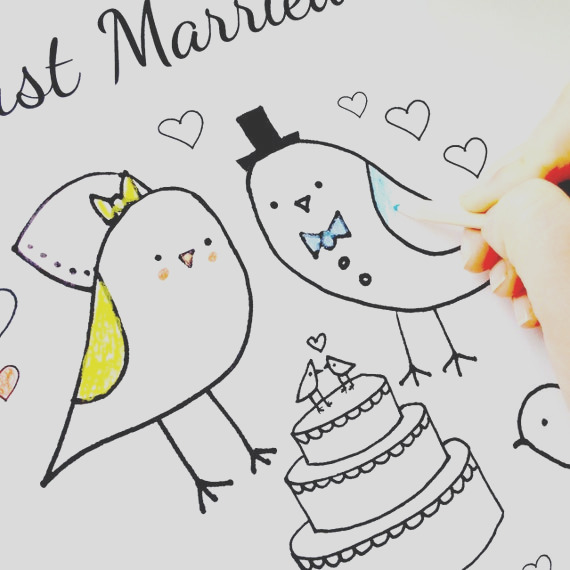 wedding coloring page just married love