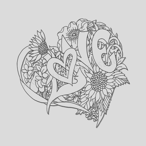 wedding shower adult coloring page love