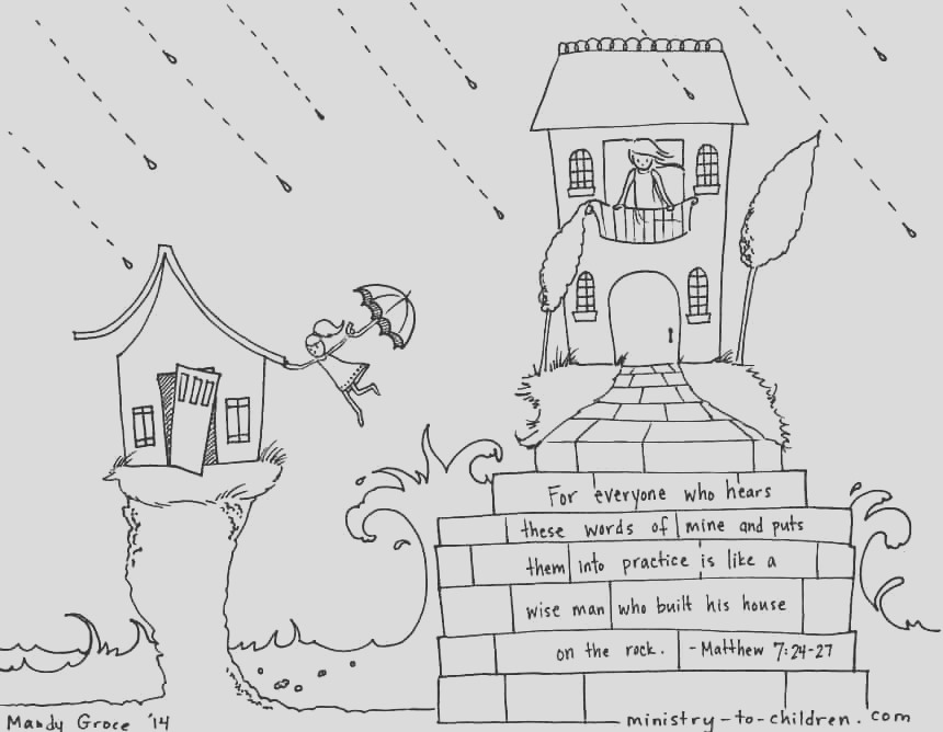 build your house upon the rock matthew 724 coloring page