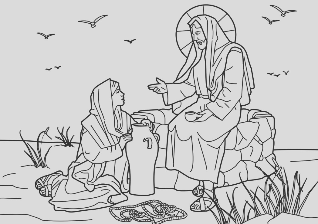 woman at well coloring page