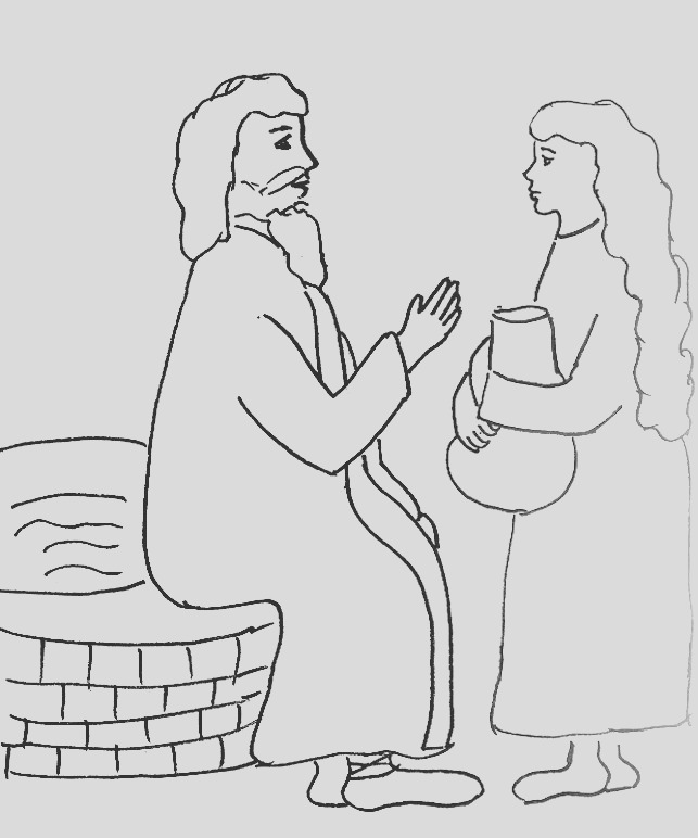 bible story coloring page for jesus and the woman at the well