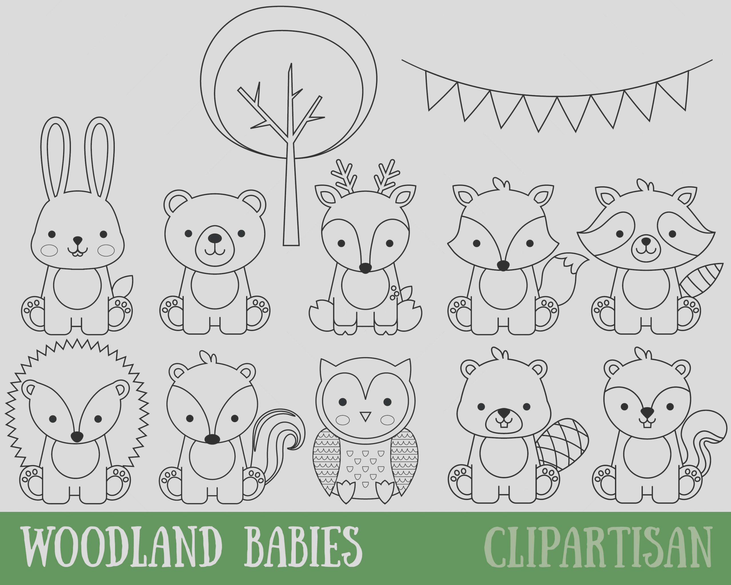 woodland animals digital stamps baby