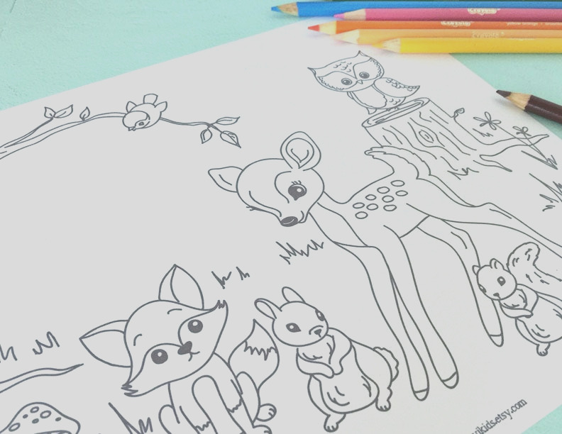 printable woodland critters coloring